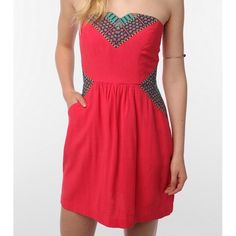 Urban Outfitters pink strapless dress Pink patterned strapless dress from Urban Outfitters Ecote label! Bright colorful hues make this a super fun dress for summer :) Excellent condition. Urban Outfitters Dresses Strapless
