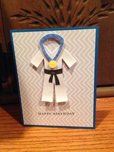 Handmade Happy Birthday Card/ Karate Birthday Card