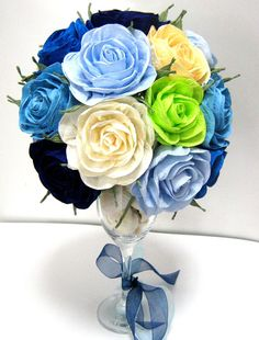 Navy royal Blue Rose Beach sea shells wedding by babyshowerflowers