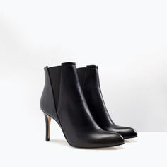 ZARA - SHOES & BAGS - LEATHER HIGH HEEL ANKLE BOOTS