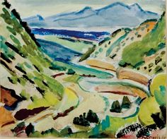 """""""Road to Santa Fe,"""" Alice Schille, watercolor and charcoal, 5 x 6"""", private collection."""