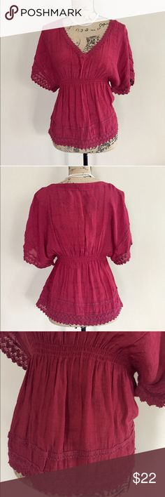 """Nordstrom boho blouse Crimson boho blouse from Ali & Kris for Nordstrom. V neck, short sleeves. Loose fit with elasticized smocked under bust. Neckline, sleeves, and hem all lined with crochet accent. Size L. 55% polyester, 45% rayon. Machine wash. Approx measurements, bust 17"""", length 23"""".  🛍 Nordstrom Tops Blouses"""