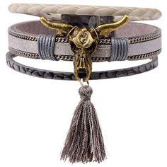 Cow skull tassel bracelet ❤ liked on Polyvore featuring jewelry, bracelets, skull jewellery, skull bangle, skull jewelry and tassel jewelry