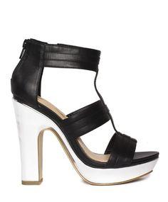 Black gladiator \\ silver block heel \\ SHOE SEPARATES