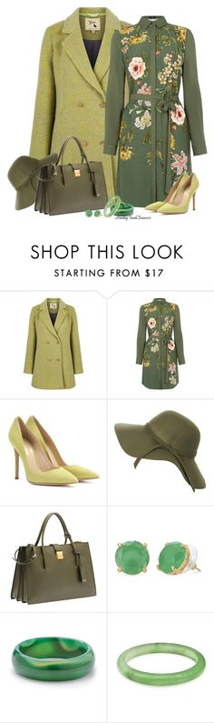 """""""Shades of Green"""" by honkytonkdancer ❤ liked on Polyvore featuring Yumi, Oasis, Gianvito Rossi, Miu Miu, Stella & Dot, Palm Beach Jewelry, women's clothing, women's fashion, women and female"""