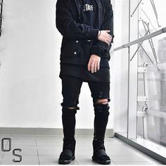 #OutfitSociety via @gentwithstyles Presents @sxmlynn black on Blvck o blxcx:  Chad Tatton Denim Jacket  Purpose Tour Hoodie  Only the Blind Jeans and  Adidas x Yeezy Boost 750