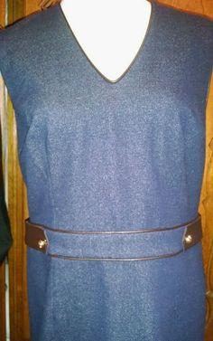 Tory Burch Blue Sheath Dress Gold Hardware Zip $378 Sz 10 / 12