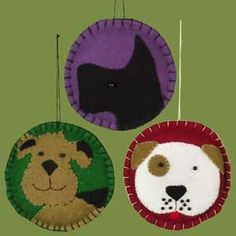 """5 1/2"""" Felt Dog Ornament 3 styles in the case. Original Retail was $6, Box of 12"""