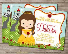 BELLE Printable DISNEY Beauty & the Beast Inspired Girl Princess Birthday Party Invitation CUSTOM on Etsy, $10.00