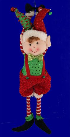 Musical Animated Elf Doll Christmas Door Hanger or Decor