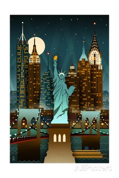 New York City, New York - Retro Skyline (no text) - Lantern Press Artwork Acrylic Wall Art Gallery Quality), Size: 24 x 36 Acrylic Hanging Wall Decor, Multi New York Illustration, New York Theme, Art Deco Posters, New York Art, Retro Wallpaper, City Landscape, City Art, Vintage Travel Posters, Wall Art Prints