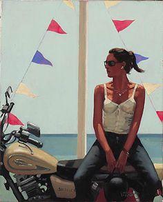 La Fille a la Moto, Jack Vettriano Box Print Jack Vettriano, The Singing Butler, Paolo Nutini, Illustration, Beach Art, Artsy Fartsy, Female Art, Amazing Art, Cool Art