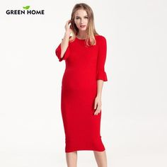 350b1985b92 Hot RU Maternity Knee-Length Dress for Pregnant Woman Thick Cotton  Pregnancy Dress in Winter