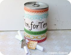 This Tin for Ten is a personal and inexpensive idea that makes a great 10th anniversary gift ideas for husband.