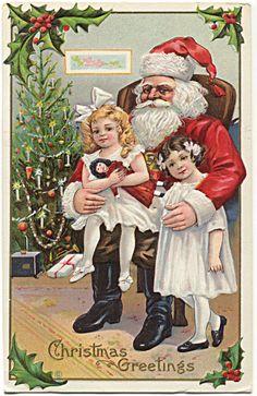 Santa Claus Two Little Girls Doll Tree, Postcard gold ink trim 1914 | eBay
