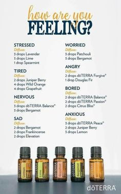 How Are You Feeling Diffuser Blends - angry - sad - stressed - worried - bored - tired - anxious - Much better. More settled knowing I can help that referral and she won't fall through the cracks. Missing you but I'm feeling so much better. Essential Oil Diffuser Blends, Essential Oil Uses, Relaxing Essential Oil Blends, Essential Ouls, Doterra Diffuser, Diffuser Recipes, Aromatherapy Oils, Aromatherapy Recipes, Doterra Essential Oils