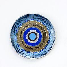 Blue Mandala  Evil Eye Decor  Gray and Blue Plate