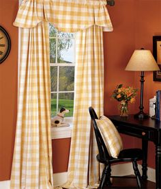 Buffalo Check Curtains Draperies - black desk and chair