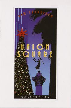 San Francisco postcard, illustration by J. She