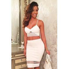 Cheap Sexy V Neck Spaghetti Strap Sleeveless White Polyester Sheath Knee Length Dress