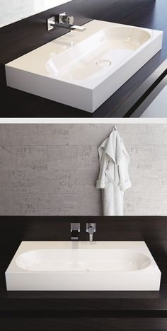KALDEWEI bathroom: The minimalism and simple elegance of the CENTRO bathtub family have been transferred here to the washbasins. Taking the circle as the basic shape, a very special geometry was produced – with soft radii and flowing contours. #Kaldewei #Washbasin