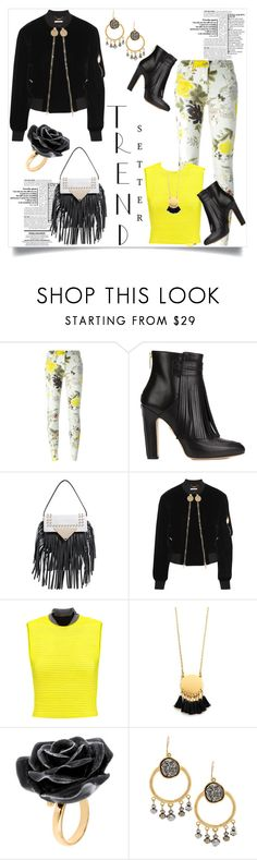 """""""Trend Setter: Black Bomber Jacket / Dolce & Gabbana Jeans"""" by helenaymangual ❤ liked on Polyvore featuring Etro, Maiyet, Sara Battaglia, Givenchy, Alexander Wang, Madewell, Nach Bijoux and Chico's"""