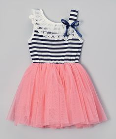 Look at this Coral Stripe Tutu Dress - Infant, Toddler & Girls on #zulily today!