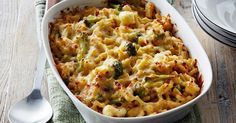 With the weather cooling down now is the perfect time to tuck into this cheesy, golden-baked cauliflower and broccoli pasta bake.