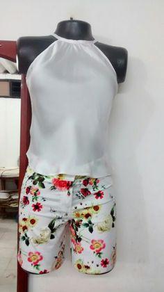 #blusa en seda tesalia y short en dril estrés estampado