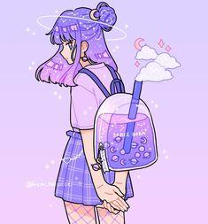 anime purple cute girl art by by fresh bobatae/Emily Kim December 03 2019 at fashion-inspo Arte Do Kawaii, Art Kawaii, Cute Kawaii Drawings, Art Anime Fille, Anime Art Girl, Aesthetic Anime, Aesthetic Art, Aesthetic Videos, Aesthetic Japan