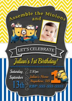 partyexpressinvitations - Chalkboard Despicable Me Minions Birthday Invitations Chevron, $8.99 (http://www.partyexpressinvitations.com/chalkboard-despicable-me-minions-birthday-invitations-chevron/)