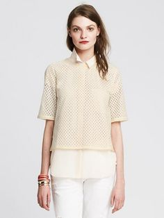 Banana Republic Womens Eyelet Cropped Top Size M - Cocoon
