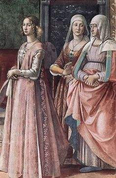 1486 front laced gamurra of brocade, giornia with dags (don't see that often) Curious about her ladies one with gamurra but the other looks like the older non-waist design but very rich materials and trim.