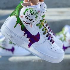 Custom Joker Nike Air Force Made to order, Shoes are authentic. Will take weeks. No need for a water proofer, the paint will not come off unless it gets scuffed. No refunds. Sizes range from boy's youth to men. Custom Sneakers, Nike Sneakers, Sneakers Fashion, Fashion Shoes, Nike Custom Shoes, Customised Shoes, Yeezy Fashion, Custom Jordans, Custom Made Shoes