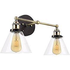 """Revel Indie 19"""" Mid-Century Industrial 2-Light Wall Sconce with Glass Shades, Brushed Black Finish - - Amazon.com"""