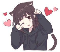 It is a cute sticker of kurumi-chan. Anime Neko, Kawaii Anime Girl, Otaku Anime, Chat Kawaii, Kawaii Chan, Loli Kawaii, Cute Anime Chibi, Chica Anime Manga, Cute Anime Pics
