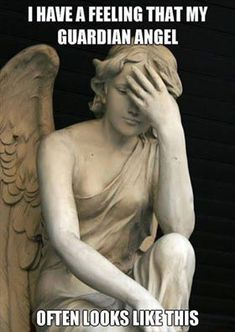 Check out: Funny Memes - Guardian angel. One of our funny daily memes selection. We add new funny memes everyday! Bookmark us today and enjoy some slapstick entertainment! Facepalm Meme, Statue Ange, Catholic Memes, Church Memes, Church Humor, Funny Quotes, Funny Memes, Funniest Quotes, Hilarious Jokes