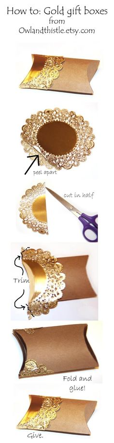 Bergere Chair blog DYI- - gold doily pillow box hot to