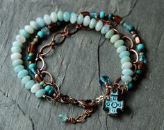 Amazonite Copper Patina Celtic Cross Multi by EntwyneDesigns