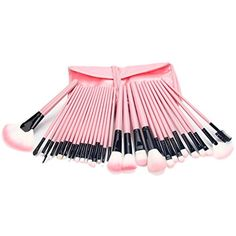 niceeshop(TM) 32Pcs Wood Makeup Brushes Kit Professional Cosmetic Make Up Set with Pouch Bag, Pink * Click on the image for additional details. (This is an affiliate link and I receive a commission for the sales)