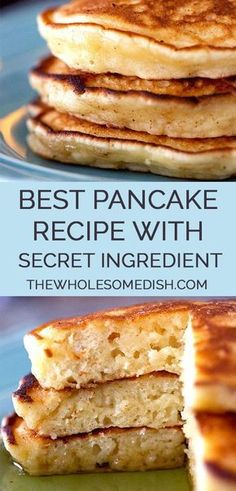 Best Pancake Recipe - This tasty pancake recipe is easy and has a secret ingredient that gives them the perfect fluffy pancake consistency. via The Best Pancake Recipe - The Wholesome Dish Breakfast Appetizers, Breakfast Desayunos, Breakfast Dishes, Breakfast Ideas, Appetizer Dessert, Sour Cream Pancakes, Tasty Pancakes, Fluffy Pancakes, Best Pancake Recipe Fluffy