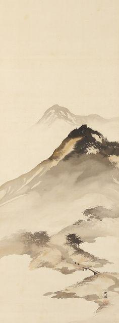 Mountain Landscape with Bridge by Odake Chikuha, (1878-1936) 尾竹竹坡 Japan