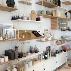 Desk Inspiration, Interior Inspiration, Shelving Solutions, Shelving Ideas, String Shelf, System Furniture, Interior Decorating, Interior Design, Sweet Home