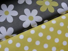 Michael Miller Fabric Duo , Lil Plane Jane in Gray and Quarter Dot in Sunny
