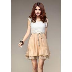 Sweet Lace Splicing Pleated Chiffon Women's Summer Dress With Belt, WHITE, M in Chiffon Dresses | DressLily.com