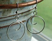 Hand Forged Sterling Silver Wire Curly Q Circle Earrings by OogleDeeBoo.  Light and airy.