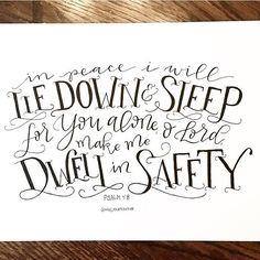 In #peace I will lie down & #sleep for you alone O #Lord make me dwell in #safety. By @mollykatedesign. Psalm 4:8 #psalm48  Tag us and use #communionize to be featured #typography #calligraphy #lettering #handlettering #creative #design #sketch #inspiration  #christ #christianity #christian #bible #jesus #pray #communion #godsword #devout #amen #faith #god #gospel #grace #holy #blessed by communionize