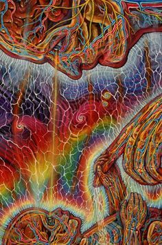 Alex Grey, the connection with new life. Alex Gray Art, Psy Art, Visionary Art, Psychedelic Art, Sacred Geometry, Geometry Art, Trippy, Bunt, Spirituality