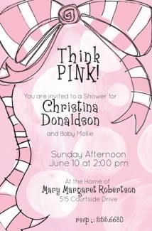 Think Pink ! This will be the perfect pink baby shower invitation for the newborn girl to be!