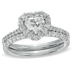 1-1/5 CT. T.W. Heart-Shaped Diamond Frame Bridal Set